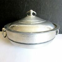 VTG Brushed Hammered Aluminum Covered Casserole Serving Dish Italy 8.5x7 FREE SH