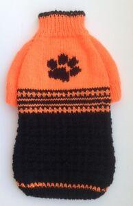 Handknit acrylic orange black Pet Sweater, Cat Sweater,Cat Clothes,small dog