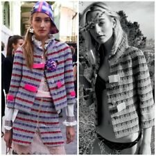 Chanel Runway 2017 Celebrity multi Tweed top Jacket 36 $6000 Sold Out