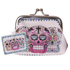 DAY OF THE DEAD SKULL COIN PURSE Clasp Tic Tac Pink Girls Ladies Gift Novelty