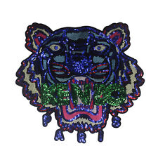 Beaded Sequin Tiger Embroidery Lace Applique Patches Lace Patches Sew on Sticker