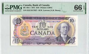 CANADA 10 Dollars 1971, BC-49c-i Lawson Bouey, PMG 66 EPQ Gem UNC, Rare Grade