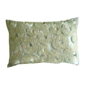 Ivory Ribbon Ivory Rose Flower 12x14 in Silk Lumbar Pillow Cover-Ivory Paradise