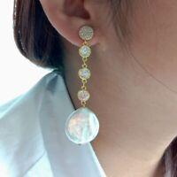 White Coin Keshi Pearl Gold Plated Chain Stud Earrings
