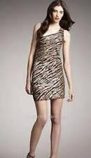 $396 NWT Alice + Olivia Brown Nora Zebra Gold Sequin One Shoulder Dress 10