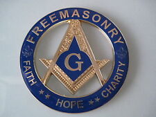 Masonic Master Mason Cut out Car Auto Emblem Gold.