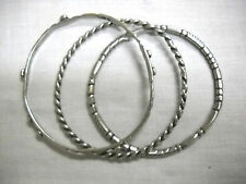 NEW SET OF 3 DECORATED ASSORTED DESIGNS HAND CAST PEWTER BANGLE JINGLE BRACELETS