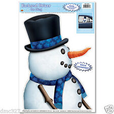 "1 CHRISTMAS Decoration Prop BACKSEAT DRIVER SNOWMAN CAR WINDOW Mirror CLING 14"""