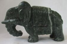 LARGE JADE GREEN CARVED STONE ELEPHANT SCULPTURE