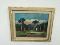 Renato Natali (Livorno, 1883 - 1979) Caccia a cavallo  50x40 cm olio su tavola