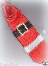 CHRISTMAS SANTA SUIT GLITTER MEN'S TIE WITH ELASTIC CLOSE NEW HOLIDAY COSPLAY