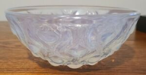 "Rene Lalique Bulbes Number 2 Opalescent Bowl 8"" Signed R Lalique"
