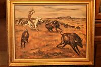 Orig Oil, Not Signed, Indian Buffalo Hunt, Western Art, Framed