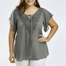 Plus Size Womens Curve Appeal Lace T-shirt Blouse Bat Short Sleeve Chiffon Tops 4xl