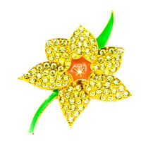 NEW GOLD DAFFODIL YELLOW FLOWER DIAMANTE CRYSTAL BROOCHES PINS BOUQUET WOMEN LOT