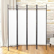 4 Panel Screen Room Divider Fabric Metal frame Folding Partition Privacy White