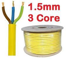 YELLOW Arctic Cable 13 amp 16a Mains 3 Core 1.5mm Flex Outdoor Wire per metre