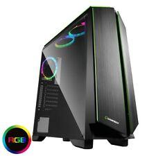 Spiel Max Zircon RGB Gaming PC-Gehäuse Mid ATX mit vollen Seitenscheibe 3x 12cm LED Fan