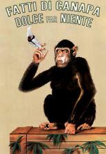 Fatti Di Canapa (Dolce Far Niente, Smoking Monkey) Art Poster Print - 13x19