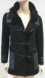 THE KOOPLES Women's Black Wool & Leather Parka Hooded Duffle Jacket Coat 36 8 UK