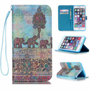 For iPhone 5/6/7/8/X Samsung Luxury Fashion Flip Wallet Pattern PU Leather Case