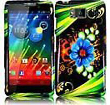 For Motorola Droid RAZR MAXX HD HARD Case Snap On Phone Cover Aqua Flower