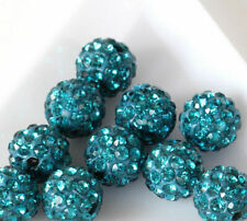 20pcs 8mm Peacock Blue Alloy Ball Crystal Rhinestones Round Spacer Beads Jewelry