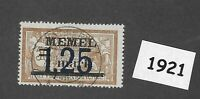 #1921  1.25 Mark Used stamp 1922 Memel Lithuania / Prussia / Third Reich Germany