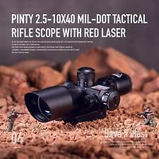 Pinty 2.5-10x40 Tactical Rifle Scope Mil-dot Dual illuminated Red Laser W/ Mount