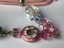 CAPIZ PRETTY PINK LEATHER CORD FACET SQUARE CRYSTAL DROP DANGLE DISC NECKLACE