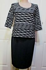 MILLERS LADIES BLACK & WHITE STRIPED 3 /4 SLEEVED TOP SIZE 20