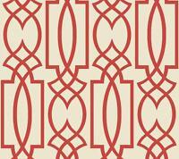 Wallpaper Designer Large Coral Imperial Trellis on Eggshell White