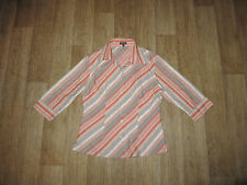 Gestreifte 3/4 Arm Damenblusen, - tops & -shirts aus Leinen