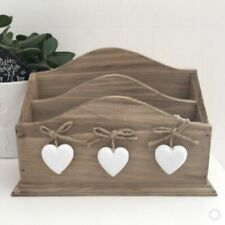 Rustic Farmhouse Wooden Letter Rack With White Hearts 16x23x8cm No