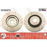 TRW 2x Bremsscheiben Gelocht/innenbel. lackiert schwarz DF6687S