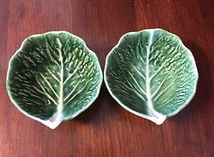Two Vintage Portuguese Cabbage Leaf Bowls - Mid Century