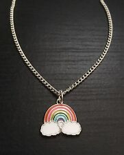 Silver Tone Enamel Rainbow Pendent Necklace, Great Gift