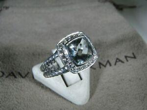 DAVID YURMAN AUTHENTIC ALBION 7MM PRASIOLITE PAVE DIAMOND RING SIZE 6 D.Y. POUCH