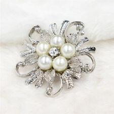 ramo De Flores Broche Azul Diamante Cristal Boda Fiesta Pin Broche Reino Unido New Gold