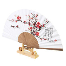 Korean Paper Bamboo Folding Fan Korean Tradition Hand Fan Plum Blossom Picture