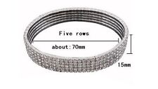 1-5Row Tennis Clear Crystal Silver Gold Stretch Anklet Foot Chain Leg Bracelet