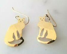 Cat Drop Dangle Pierced Earrings Wild Bryde 14Kt Gold Plated Hammered