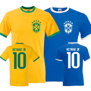 NEYMAR JR Brazil No. 10 Tshirt Top Kit World Cup 2018 Soccer Football Team Mens