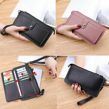 Luxury PU Leather Card Holder Wristlet Wallet Purse Strap Phone Pouch Case Cover