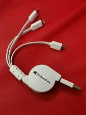 Triple USB charger Retractable Cable Type C Micro USB And iPhone See Photos