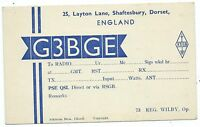 DORSET - SHAFTESBURY  QSL Radio Transmission Confirmation Postcard G3BGE