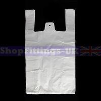 "1000x White Plastic Vest Carrier Bags For Stalls shopping/Retail Bag 13""x19""x23"""