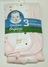 New Gerber 3 pack Terry Lined Burp Cloth Pink Princess Organic Cotton