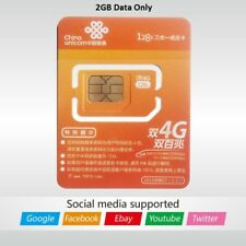 China Unicom SIM card Prepaid Data card 2GB LTE Access Google shipping from USA