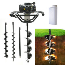 More details for petrol earth auger hole digger 52cc engine tool 3 drill bit fence post borer dig
